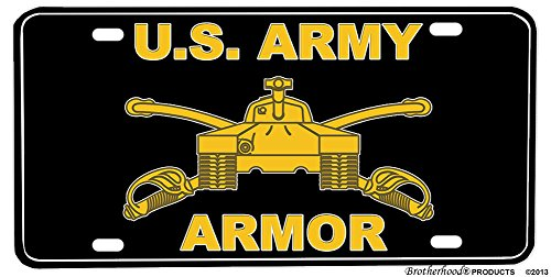 BrotherhoodProducts US Army Armor Tank Aluminum License Plate