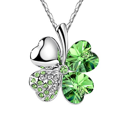 Costumes Carnaval Nature (FANSING Costume Jewelry Halloween Gift Heart Crystal Four Leaf Clover Pendant Luck Necklaces for Women & Girls Greenery)