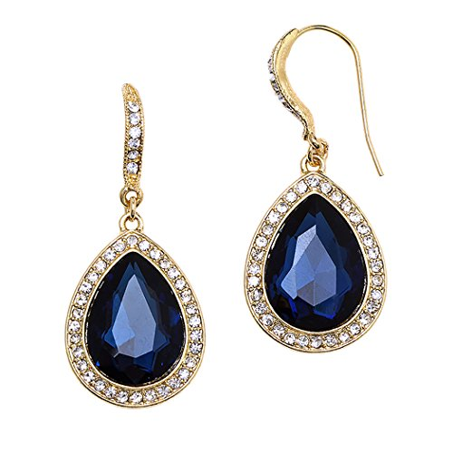 Downton Abbey Maids Costumes (Rosemarie Collections Women's Teardrop Crystal Rhinestone Statement Drop Earrings (Gold Tone/Blue))