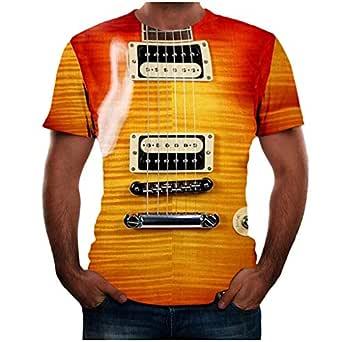 LANSKIRT_Camisas Hombre Verano Impresión 3D de Guitarra de Moda ...