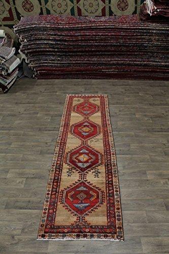 Geometric S Antique Runner Signed Meshkin Persian Style Area Rug Oriental Carpet 3X11