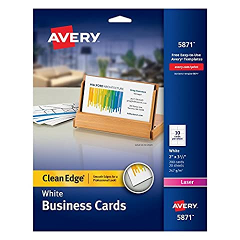 Avery Printable Two-Side Clean-Edge Business Cards for Laser Printers, White, Pack of 200 (05871) (Printer For Card)