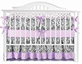 7 Pieces Set Ruffle Grey Puple Floral Baby Crib Nursery Bedding Set Ruffle Sheet