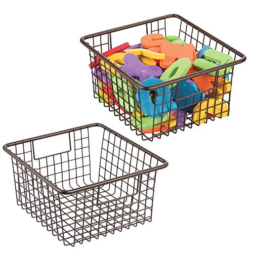 mDesign Metal Wire Toy Box Storage Organizer Basket Bin Tote with Handles for Child/Kids Bedroom, Toy Room, Playroom Shelves - Holds Action Figures, Crayons, Blocks, Puzzles, Crafts - 2 Pack - Bronze