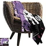WinfreyDecor Vintage Halloween Home Throw Blanket Halloween Midnight Image with Bleak Background Ghosts Towers and Bats Anti-Static Throw 55' Wx55 L Purple Black