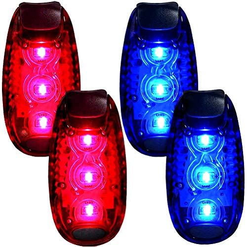 4-Pack LED Safety Light Strobe lights for Daytime Running Walking Bicycle Bike Kids Child Woman Dog Pet Runner Best Flashing Warning Clip on Small Reflective Set Flash Walk Night High Visibility by UMISHI