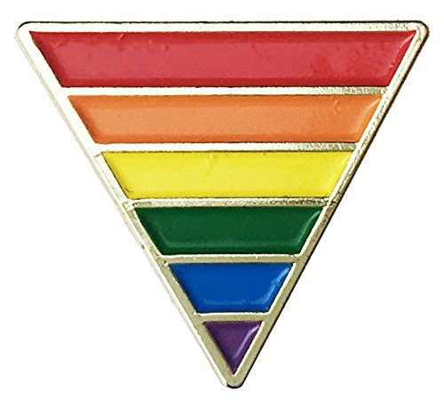Pin Plated Gold Lapel Flag (Rainbow Pride Flag Triangle Gold Plated - Lapel or Fabric Pin)