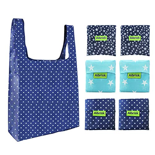 Aibrisk Eco-Friendly Reusable Grocery Bags Set of 6,Upgraded Five-line Stitched Durable Grocery Tote Bags,Foldable Washable Portable Lightweight Reusable Shopping Bags