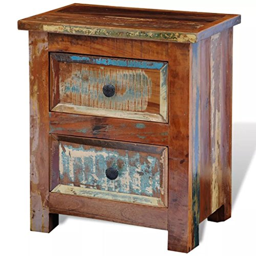 vidaXL Reclaimed Solid Wood Bedside Cabinet Nightstand with 2 Drawers Vintage Rustic