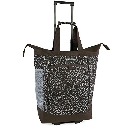 Pacific Coast Signature Large Rolling Shopper Tote Bag, Leopard