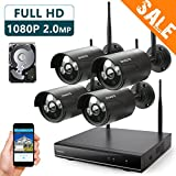 ONWOTE 1080P HD Wireless Security Camera System Outdoor with 1TB Hard Drive, 4CH 1080P NVR and 4 1080P 2.0MP WiFi IP Cameras with Night Vision