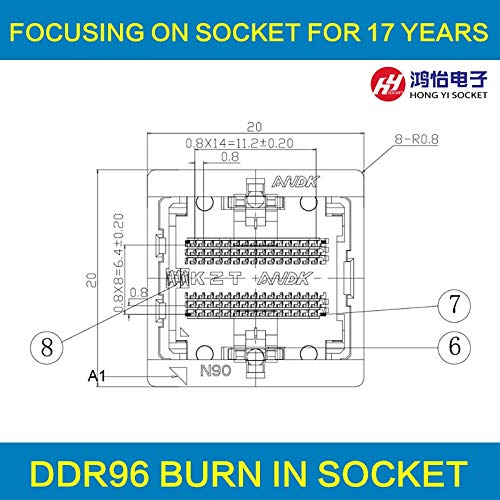 (Gimax DDR3-0.8 96pin Burn in socket Ball Pin Pitch 0.8mm DDR DIMM DRAM for DDR manufacturer testing DDR NAND chips - (Color: DDR3 96pin))