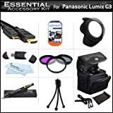 Essential Accessory Kit For Panasonic LUMIX DMC-G3 DMC-GF3 Digital Camera Includes Deluxe Case + Mini HDMI Cable + High Resolution 3PC Filter Kit (UV-CPL-FLD) + Lens Hood + LensPen Cleaning Kit + More