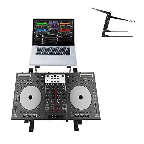 Pyle PLPTS38 Universal Dual Device Laptop Stand, Sound Equipment DJ Mixing Workstation (DJ Equipment)