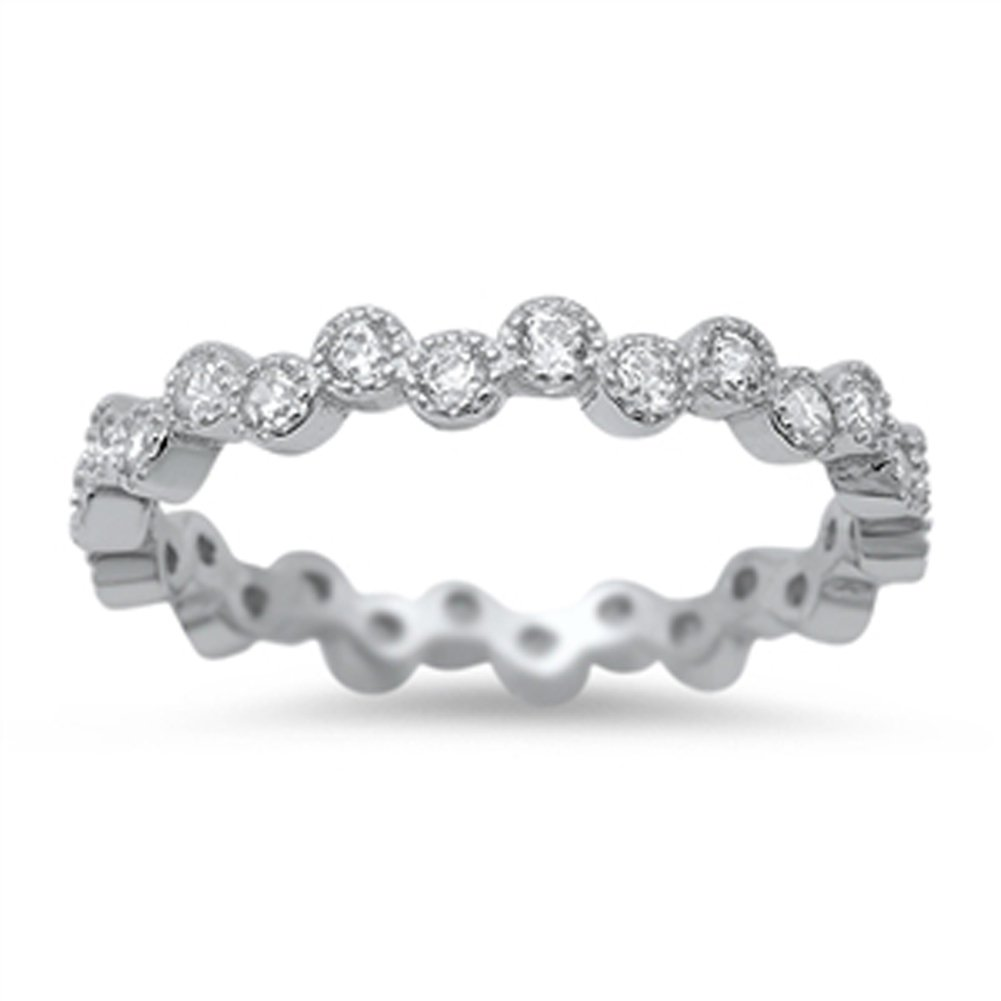Eternity Bubble Clear CZ Unique Ring New .925 Sterling Silver Band Sizes 4-10 Sac Silver