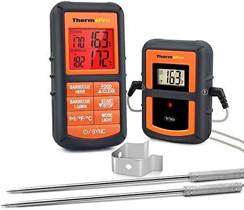 ThermoPro TP08 Barbecue Funk Grillthermometer Set Digitales Bratenthermometer BBQ Thermometer mit 2 Temperaturfühlern für BBQ, Ofen und Grills