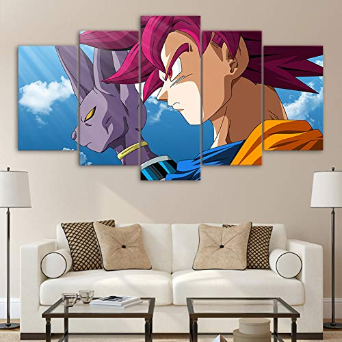 QJXX Prints On Canvas Artwork 5 Pcs Dragon Ball Abstract Canvases Print Wall Art Room Decoration Fantasy Anime Paintings (No (G Plan Dining Room Furniture)