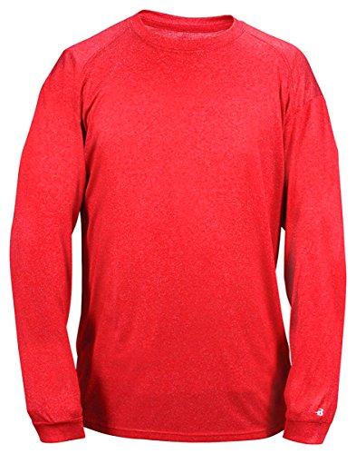 - Badger Men's Sports Long-Sleeved Hem Premium Heather T-Shirt, X-Large, Red
