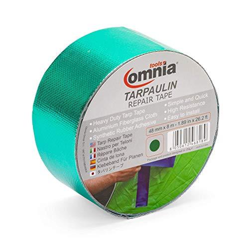OMNIA TOOLS Tarpaulin Repair Tape | Self Adhesive Repair Tape Kit | for Tarp, Tent, Awning, Cover, Sail | Green 9.8 mil 1.89 in x 26.2 - Tape Mounting Polyethylene