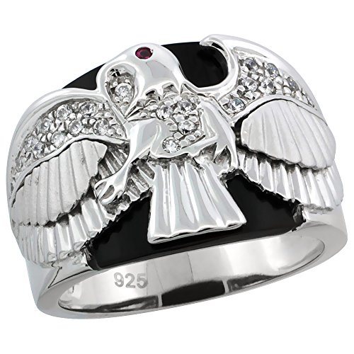 - Mens Sterling Silver Cubic Zirconia Black Onyx American Eagle Ring 5/8 inch wide, size 12
