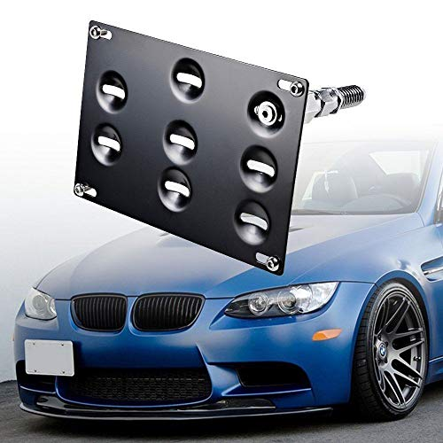GTP Front Bumper Tow Hook License Plate Mounting Bracket Relocator Holder for BMW 98-11 3 Series 4DR E46 E90 E91, 07-13 3-Series 2DR Coupe E92 E93, E82 E88 E39,1/3/5 Series, 325i 328i, E70 E71 X5 X6 ()