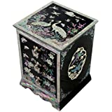 Mother of Pearl Purple Asian Lacquer Women Wooden Jewellery Trinket Keepsake Treasure Gift Girls Ring Necklace Box Chest Case Storage Organizer with Flower and Crane Design