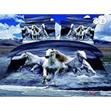 QUTE Polyester Bed Sets, European Sizes, 3D printed, 4 Piece Set, Bedding Printed Duvet Cover Set, Queen Size Wild Horses (Queen size (224x229cm))