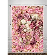 5x7ft Pink Rose Backdrop Newborn Photography Background Silk Background Photo Backdrop Studio Props Valentine's Day D-8059