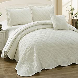 Home Soft Things Supersoft Microplush 4 Piece Quilted Coverlet Bed Spread Set from BNF Home