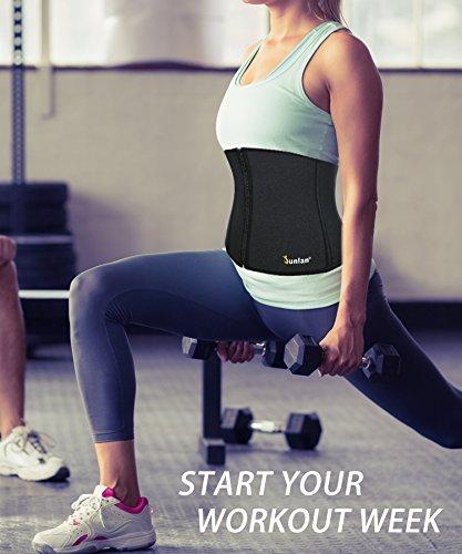 5b5cffc9adbce Junlan Waist Trimmer Neoprene Sweat Belt Adjustable Sauna Band Excess Water  Weight Cincher for Women Waist