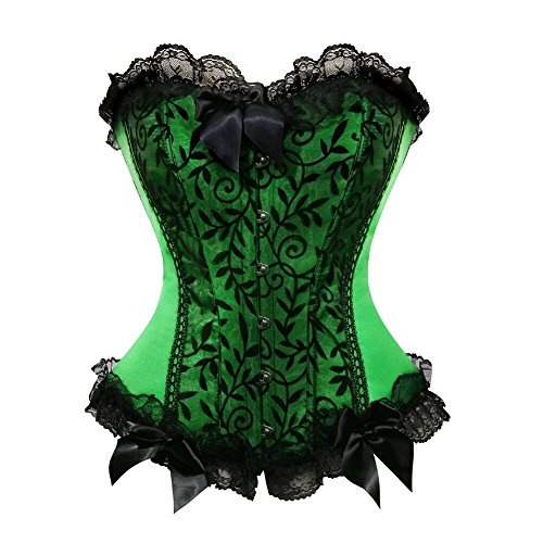Corset Sexy Floral - frawirshau Women's Lace Up Boned Floral Overbust Corset Bustier Top Green 3X