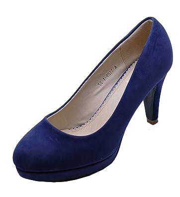 0ecf504dee0 HeelzSoHigh Ladies Navy Low-Heel Smart Work Slip-On Casual Comfy Court  Shoes Sizes