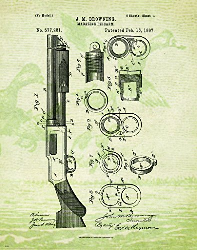 Trap Shooting Shotgun Patent Poster Art Print Reproduction Hunting Sporting Clays Thrower 11x14 Wall Decor Pictures
