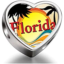 FERVENT LOVE Travel & Culture Florida Heart Photo Charm Beads Bracelets