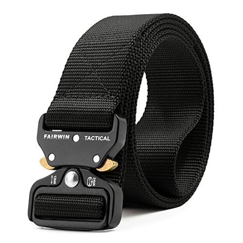 (Fairwin Tactical Belt, Military Style Webbing Riggers Web Belt with Heavy-Duty Quick-Release Metal Buckle (Black, Waist)