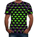 NIUQI Men's Summer 3D Printed Short Sleeves Fashion Comfort Blouse Top Green