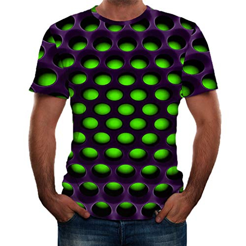 NIUQI Men's Summer 3D Printed Short Sleeves Fashion Comfort Blouse Top Green -