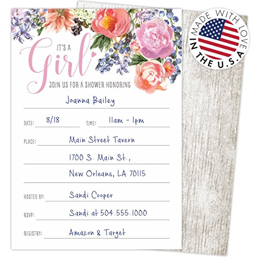 Its-a-Girl-Baby-Shower-Invitations-Set-of-25-Fill-In-Style-425-x-6-Cards-and-A6-Envelopes-Printed-on-Heavy-Card-Stock