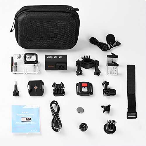 Dveda 16MP 4K Ultra HD WiFi Waterproof Sports Action Camera 170 Degree Wide-Angle Lens with 2Pcs Rechargeable Battery, Full Accessories Kits and Carrying Case Included