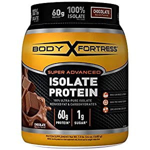 Body Fortress Super Advanced Isolate Protein, Chocolate Protein Powder Supplement Low Reduced Fat &, Low Carbohydrates, Low Sugar 1-1.5lb. Jar