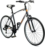 Retrospec Critical Cycles Men's Barron Hybrid 21 Speed Bike, Graphite/Orange, 20
