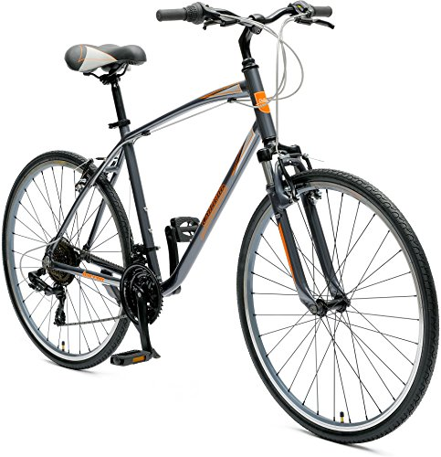 Retrospec Critical Cycles Barron Hybrid Bike 21 Speed, Graphite and Orange, 18in (M)