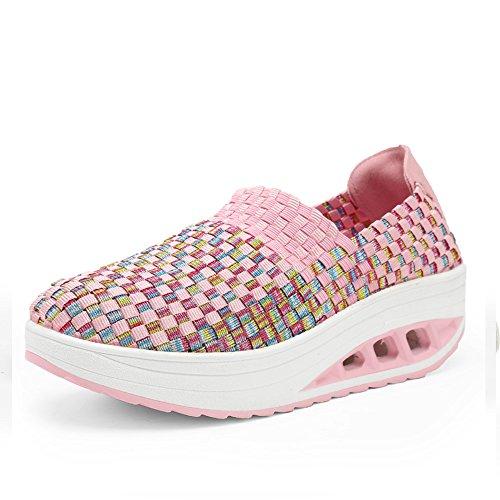 EZUOGO Ladies Soft Toning Rocker Shoes Womens Mesh Sports Tennis Shoes Walking Shoes (6.5B(M) US=EU37, Pink)