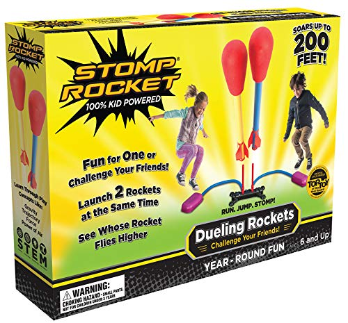 Stomp Rocket Dueling Rockets, 4 Rockets and Rocket Launcher - Outdoor Rocket Toy Gift for Boys and Girls Ages 6 Years and Up - Great for Outdoor Play with Friends -