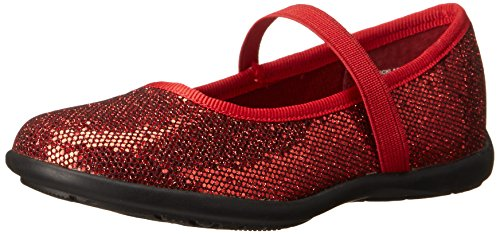 [Jumping Jacks Necklace Ballet Flat (Toddler/Little Kid/Big Kid), Dark Red Glitter/Dark Red, 13.5 M US Little Kid] (Toddler Red Glitter Shoes)