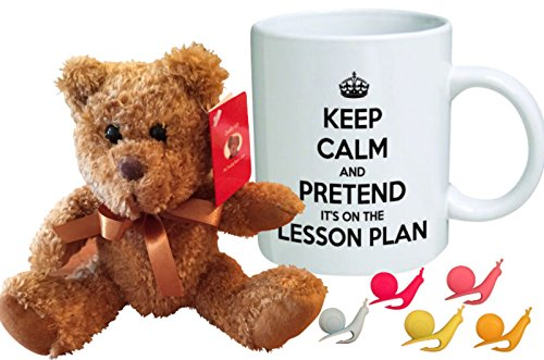 Thank You Gifts For Teachers | Funny Teacher Mug with 7 Inch Cuddle Bear | FREE 5 Pcs Snail Tea Bag Holder