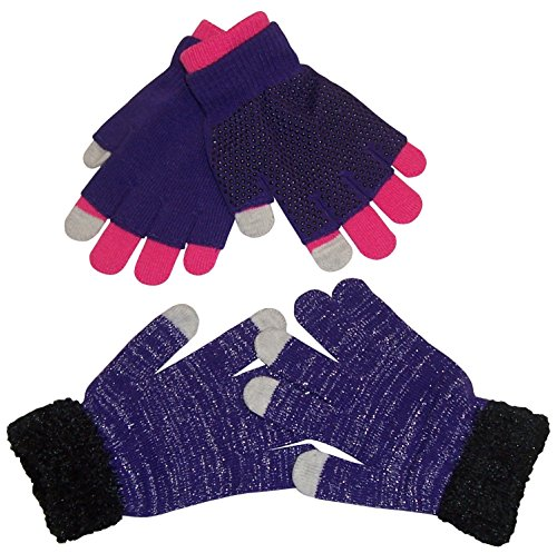 N'Ice Caps Girls Multi Pair Magic Glove And Texter Pack (4-14yrs, Purple/Fuchsia/Black)