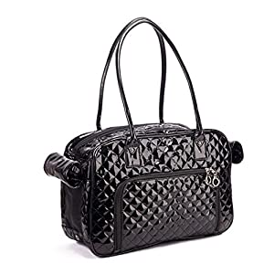 Betop House Mirror Surface Faux Leather Tote Purse Dog and Pet Carrier Travel Bag, Black