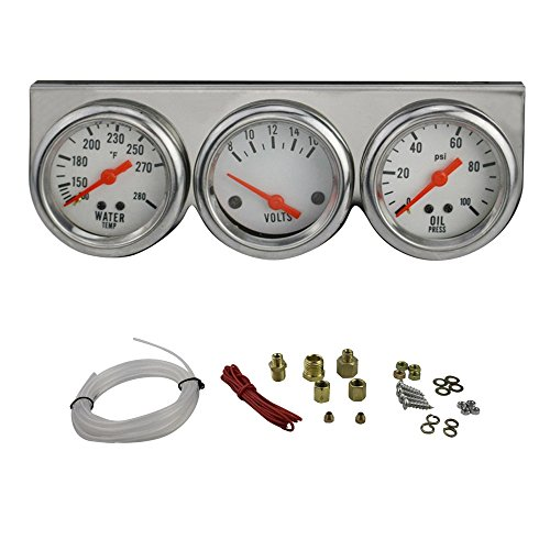 Chrome Water Temperature Gauge (Enshey Autogage White Console Chrome Oil/Volt/Water Gauge 50mm DC 12B(V) Electric Water Temp + Oil Pressure + Volt Voltage Meter Car Gauge 3 in 1 Car Motorcycle Triple Gauge Kit)