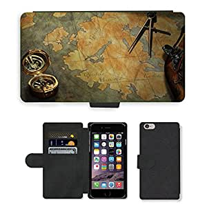 PU Cuir Flip Etui Portefeuille Coque Case Cover véritable Leather Housse Couvrir Couverture Fermeture Magnetique Silicone Support Carte Slots Protection Shell // V00002390 Mapa del tesoro // Apple iPhone 6 PLUS 5.5""